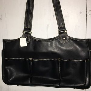 Black Leather Satchel Tan Color Stitching by AMM
